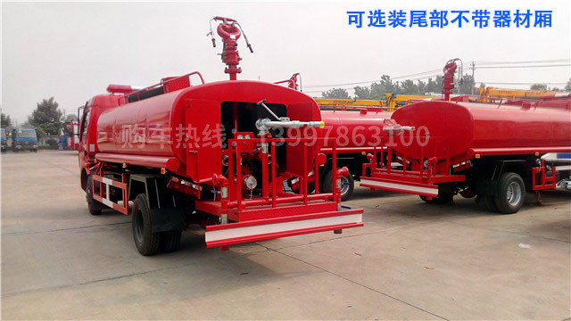 东风多利卡6.8吨简易消防车尾部可选不带器材箱,尾部平台加装绿化高炮用于绿化喷洒作业更安全