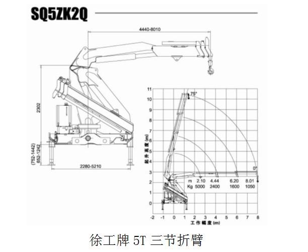 徐工5吨三节折臂技术参数图